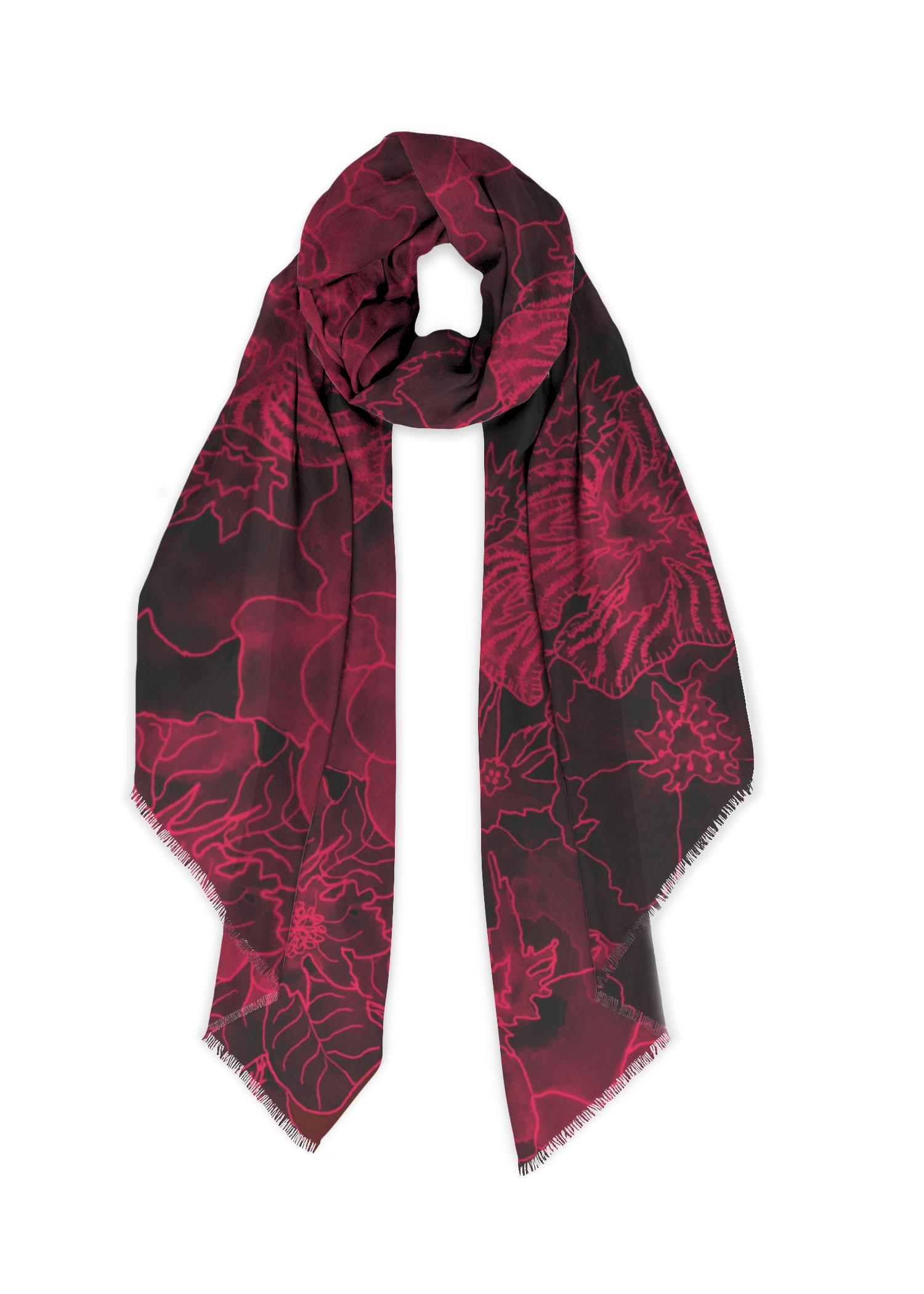 Abstract Mandala Cashmere Feel Scarves with Tassels for Men Women