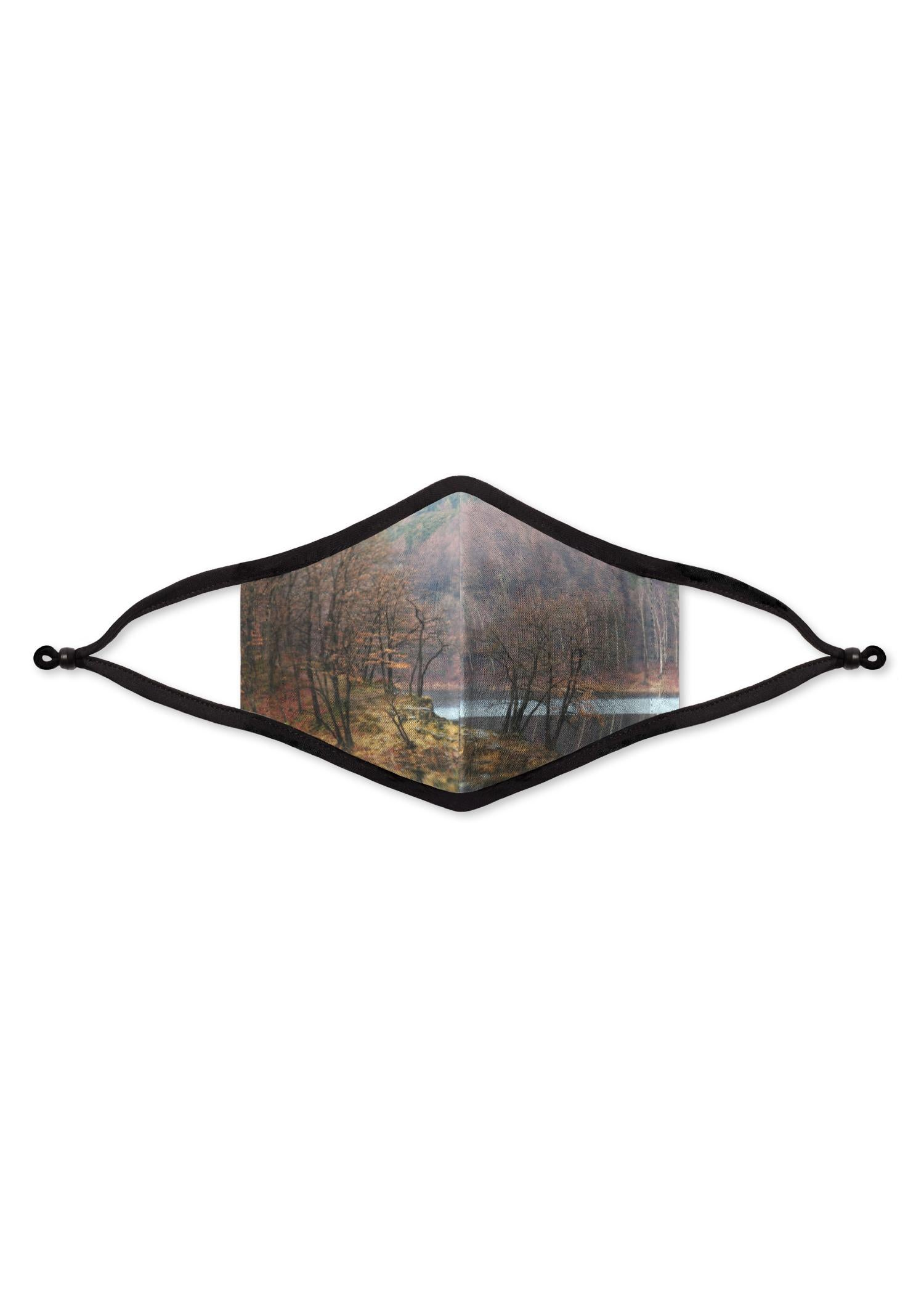 Organic Cotton Mask - Artist Print Artwork:  Autumn Mirror Lake Trees