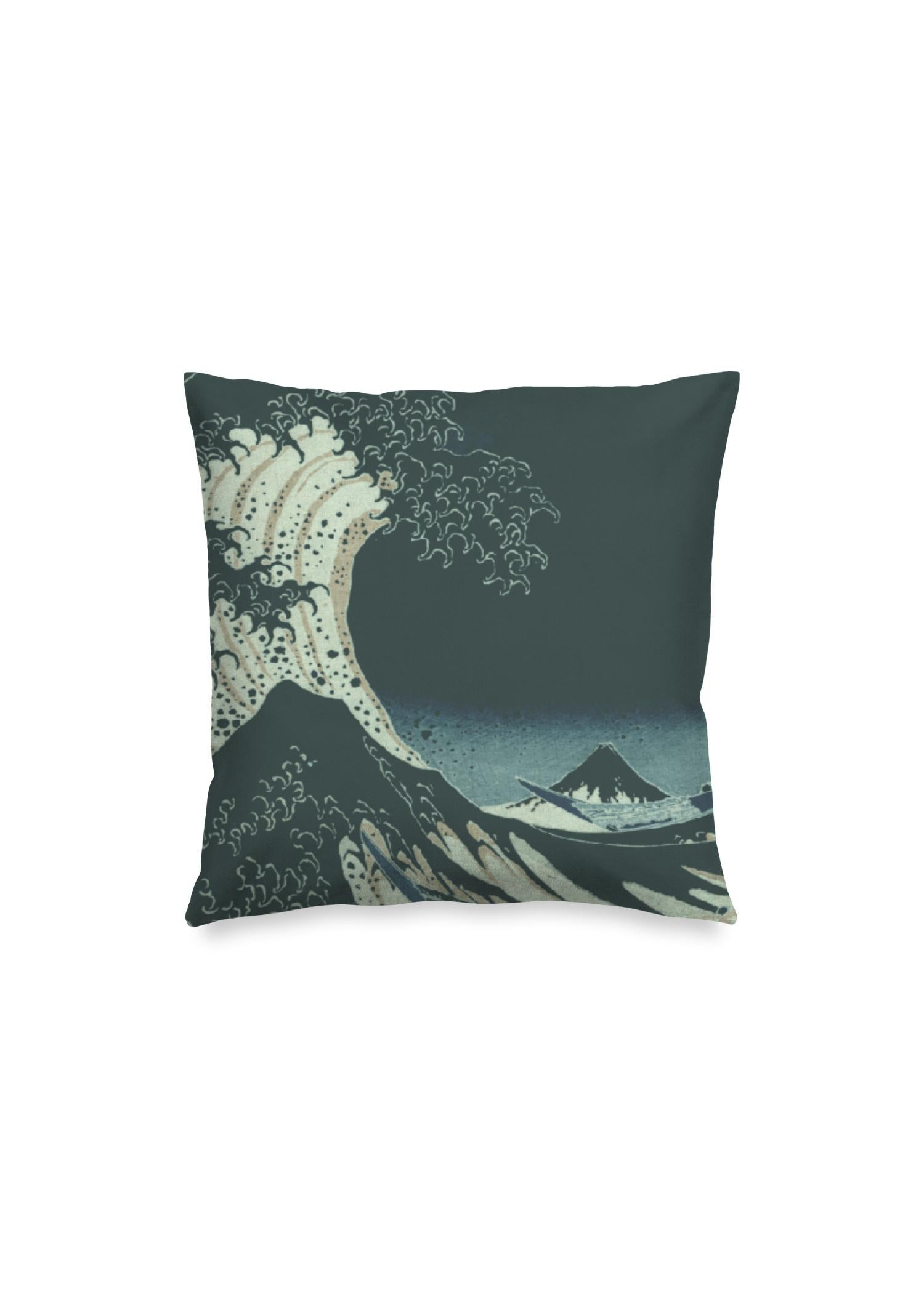Square Pillow Cover Artwork:  Great Wave At Night