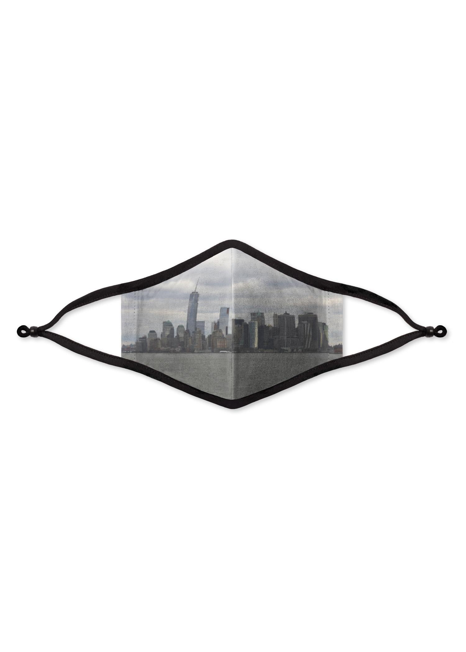 Organic Cotton Mask - Artist Print Artwork:  Grey Nyc Urban Skyline