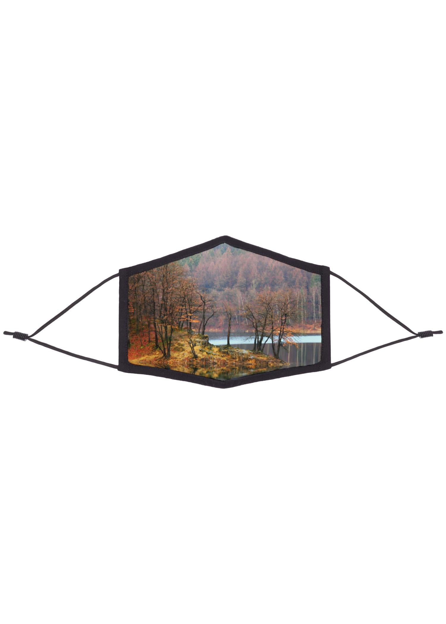 Eco REPREVE Mask - Artist Print Artwork:  Autumn Mirror Lake Trees Designed By: Christine Aka Stine1